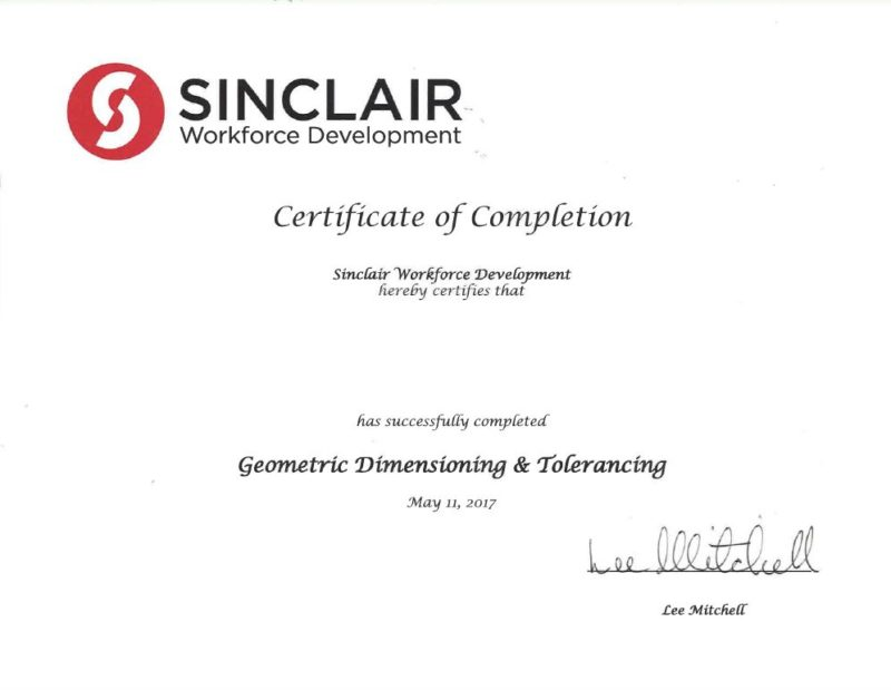 GD&T Certification with Sinclair Community College | Millat Industries