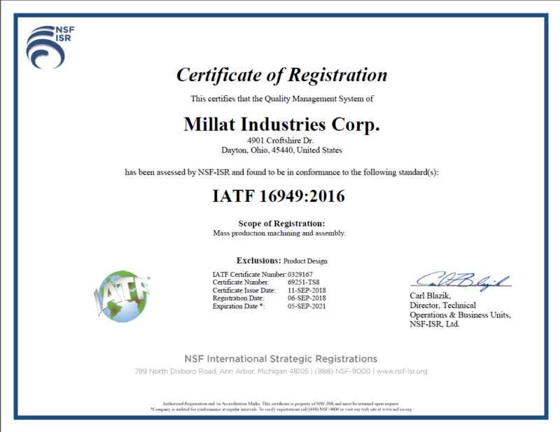 Automotive Quality Certification a Success! | Millat Industries